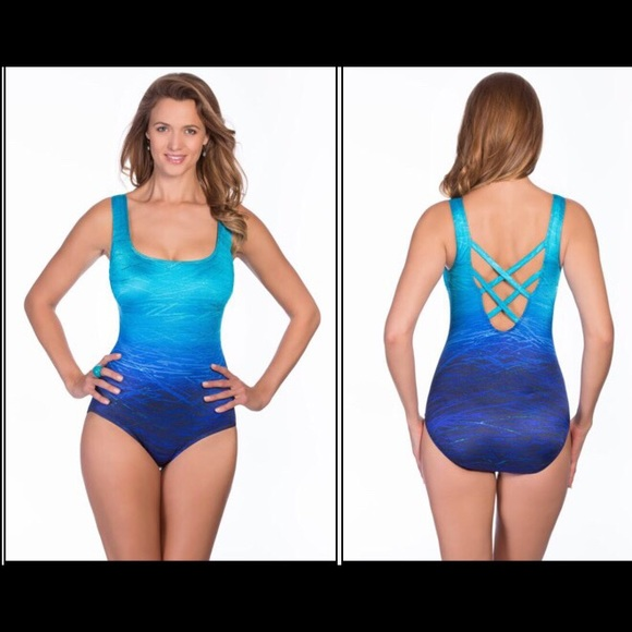 8caf89d8a42bf Longitude Swim | 8 Or 16 Blue Suit Ombr Criss Cross | Poshmark